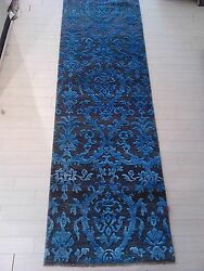 Transitional Silkwool Tibetan area rug long runner hall way damask blue 2.6x15