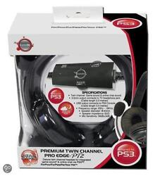Ps3 Headset Wired With Microphone Black Pro Edge Twin Channel