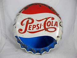Original Pepsi Cola Enamelled Bottle Cap Advertising Sign From South Africa 1950