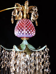 Srawberry Crystal Brass Swag Lamp Chandelier Vintage Fenton Cranberry Glass