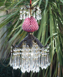 Vintage Ceiling Lily Icicle Crystal Lamp Chandelier Fenton Cranberry Glass