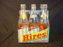 Old Vtg Six 12 Ounce Hires Root Beer Clear Soda Pop Bottle With Original Case