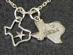 I Love Texas Duo Charm Tibetan Silver with 18quot; Necklace BIN