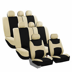 Car Seat Covers For Auto Suv Van Truck 3 Row Beige - 14 Pieces