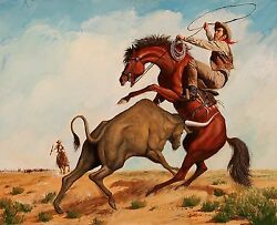 Signed John Duillo The Cowboy And The Bull Cowboy Gouache Painting On Board
