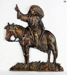 Magnificent Vintage Indian Chief Full Body And Horse Bronze Plaque 9 X 12