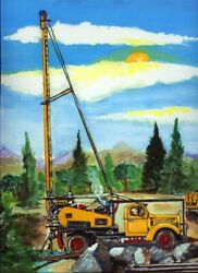 Water Well Drilling Mack Truck Art Print Oil Home Plumber Pump Drill Rig Gift Nh