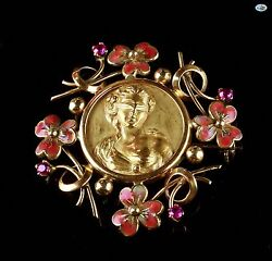 Antique Victorian 1900 18k Yellow Gold Flower Bouquet Rubies And Enamel Brooch