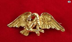 Vintage 1950 European 18k Yellow Gold Eagle W/ Rose Cut Diamond Brooch And Pendant