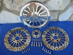 Spoke 65 Tooth 1 1/2 Pulley And Rotors W/bolts Parts For Harley Softails 95-99