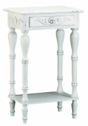 Antiqued White Carved Side Table Nightstand French Country Farmhouse W/ Drawer