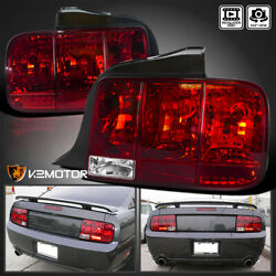 Fits 2005-2009 Ford Mustang Sequential Turn Signal Tail Lights Brake Lamps Red