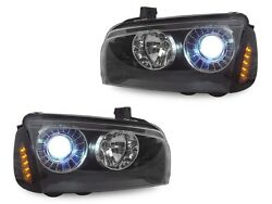 Black Projector Headlights w Xenon HID+Amber LED Corner For 06-10 Dodge Charger