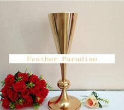 Gold Metal Trumpet Vases Tall Wedding Centerpiece Vses 22 Inches