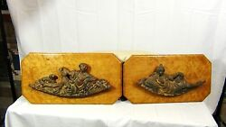 Pair 18c. Cast Iron Relief Man And Woman Figures Burl Wood Panels From A Ship