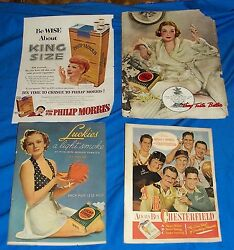 4 Old Cigarette Ads Lucky Strike Chesterfield Philip Morris Lucy Lucille Ball Ad