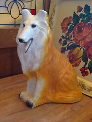Chalkware Plaster Large Collie Dog Collectible Figurine 1950#x27;s