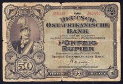 German East Africa 50 Rupien 1905 P-3a 2 Serial On Face Only Rare