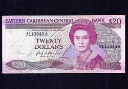 East Caribbean States 20 Dollars 1988 - 1993 P-24a1 Suffix Letter A. Sig 1