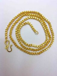 22k 24k Gold Yellow Solid Gp Jewelry 4mm Harness Rope Unisex Chain Necklace 22
