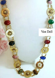 Vintage Jewelry VAN DELL Semi Precious 12k Gold Filled Scarab Belt Necklace 28