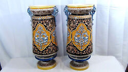 PAIR ANTIQUE 1875c FRENCH SARREGUEMINES MAJOLICA LARGE LION-HEAD HANDLES VASES