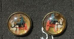 31-24 - Pair Vintage Antique Bridle Rosettes 1 1/2 Glass Domed Horse And Buggy
