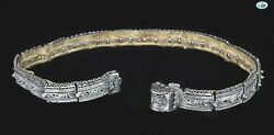 Antique 19th Century Russian Silver Niello Repoussandeacute Leather Belt With Buckle