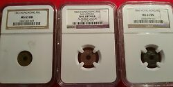 Hong Kong 1863 1865 1866 One Mil Ngc - Unc And Ms Detail - More Listing Comin