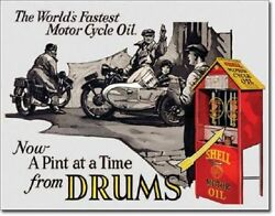 Shell Motorcycle Motor Oil From Drums Tin Sign Vintage Racing Garage Decor 2089