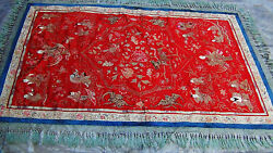 Antique 18-19c Chinese Exceptional Large Gold Stitches Red Silk Embroidery Panel