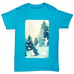 Twisted Envy Boy's Rabbits in Snow Covered Woods T-Shirt