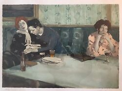 Malcolm Liepke Lithograph On Japanese Rice Paper Looking Elsewhere.
