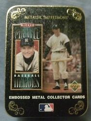 Avon Mickey Mantle Embossed Metal Collector Baseball Cards In Decorative Tin