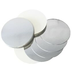 Reversible Silver And White Round Cake Boards - 1.5mm Cards - 3 To 12 Inch