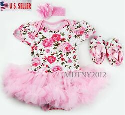 3PCS Newborn Baby Girl Outfits Clothes Romper tutu Dress Jumpsuit Bodysuit Set $8.99