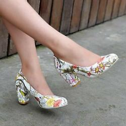 Sweet Womens Flower Pattern Court Block Mid Heel Pumps Round Toe Lady Shoes Size