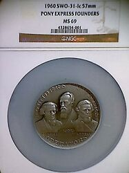 1960 Silver Pony Express Founders Medal Ngc Graded Ms-69 Very Rare