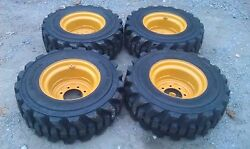 4 NEW 12-16.5 Carlisle Guard Dog Tires & RimsWheels for CAT-12X16.5-HEAVY DUTY