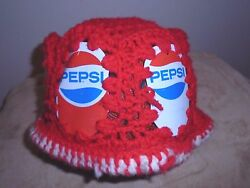 PEPSI Red Bucket Style HAND MADE KNIT HAT Soda Pop Can Coke Cola COOL One Size $17.99