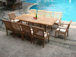11-piece Outdoor Teak Dining Set 94andrdquo Rectangle Extn Table 10 Arm Chairs Sack