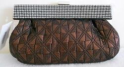 Bronze Evening Rhinestone Pouch Clutch Bag Purse Handbag NEW Lady Womens Only 1