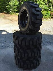 4 - NEW 12-16.5 Carlisle Ultra Guard Skid Steer Tires/black wheels/rims -12X16.5