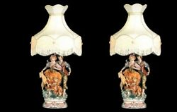 New Capodimonte Or Pair Of Couple On The Farm Lamp W/shade Made In Italy