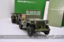 Autoart 118 Willys Army Jeep With Trailer And Accessories Green