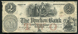 1856 2 The Pynchon Bank Of Springfield Ma Obsolete Banknote Rare
