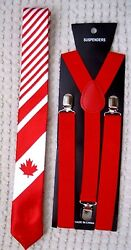 Canada Canadian Flag With Stripes 2 Neck Tie And 1 Red Adjustable Suspenders