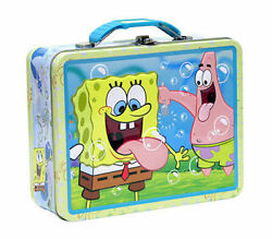 Tin Metal Lunch Snack Toy Box Embossed Sponge Bob And Patrick Embossed Bubbles New