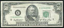 Fr. 2108-e 1950-a 50 Fifty Dollars Star Frn Federal Reserve Note