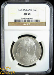 1936 Poland 10 Zlotych Y29 Silver Coin Ngc Au58 Undergraded About Uncirculated